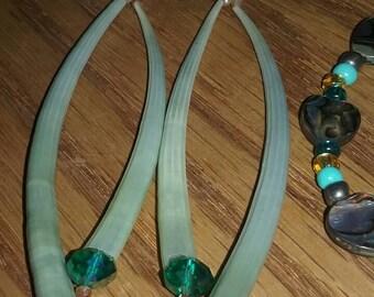 Rare green dentalium tusk shell earrings