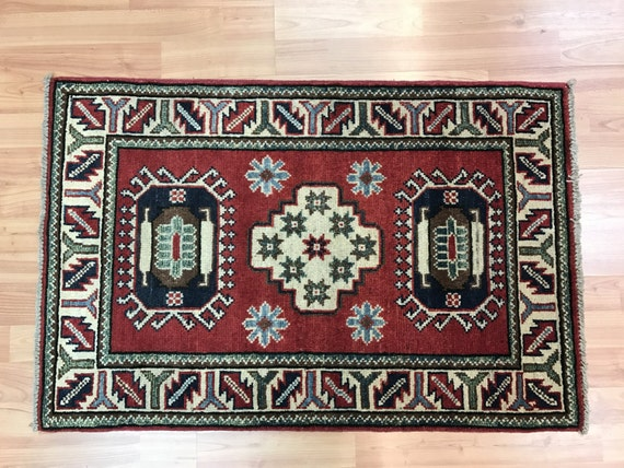 2' x 3' Pakistani Kazak Oriental Rug - Hand Made - 100% Wool - Vegetable Dye