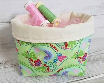 Fabric basket, Small Fabric Bin, Storage basket, Project storage,  Gift basket, Makeup tidy, Storage bin, Sewing storage, Storage bucket.