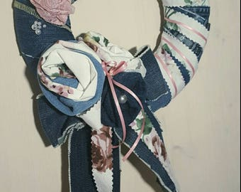 Decoration or door wreath of roses fabric jeans