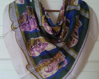 Novelty print, Italian jugs, pots, vases large silk scarf // 1950's style illustration, unusual scarf, large silk scarf