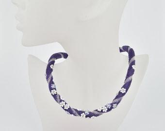 lilac flowerfield - Beaded Bracelet Bead Crochet Bracelet  lilac white with crystal mesh Beadwork Jewelry