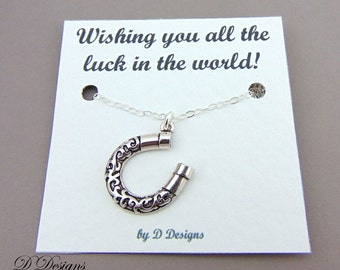 Lucky Horse Shoe Necklace, Silver Horseshoe Pendent, Good Luck Gifts, Good Luck Jewellery, Lucky Charm Necklace, Silver Necklace,
