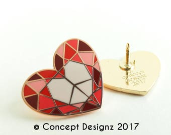 Diamond Heart at Peace - Peaceful Heart - Enamel pin
