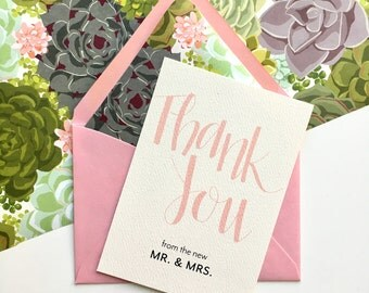 Wedding Thank You Card, Cute Thank You Cards, Thank You from the New Mr. and Mrs., Blank Thank You Card, Handlettering