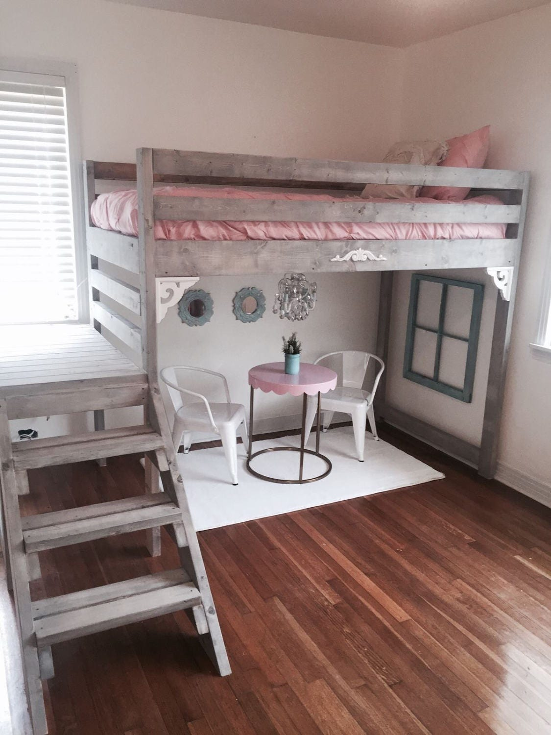 Twin twin xl rustic chic loft bed with stairs - Diy bunk beds for small rooms ...