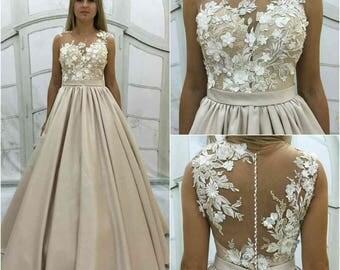 Beige Wedding Dress Vintage Atlas With Lace Corset Transparent Back