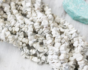 White Howlite Beads, Howlite Chips, Natural Howlite Beads, Nugget Beads, Chip Nugget Beads, Long Strands, Gemstone Chips,  GC005