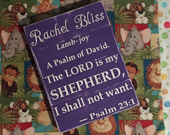 Child's Name Definition • Girls Nursery Room Sign • Shabby Chic Decor • Kids Bible Verse Plaque • Baby Shower Gift • Purple Scripture Art