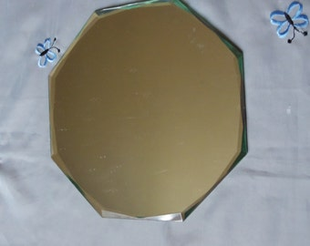 Octagonal table mirror, 50s vintage France, old miror, France