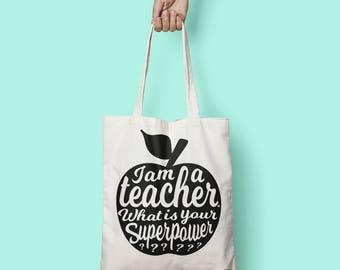 Teacher tote bag   Teacher gift idea   Teacher bag appreciation gift   Gift for teacher   National teacher day   Shopping tote bag