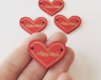 4 Red Heart Handmade wooden buttons / Embossed wooden button / Sew on tags / Red wood button / handmade logo / 1.5 Inch / BU2