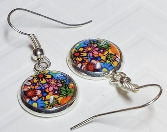 Dangle Earrings of Tiny Flowers, 10mm round, silver-plated setting, 1/3 inch