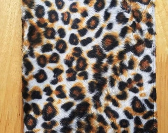 Handmade Faux Fur Leopard Book Cover PaperBack With BookMark Ribbon