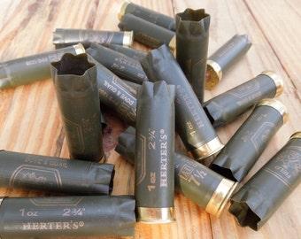Shotgun shells/empty shotgun shells/drab olive shotgun shells/wedding boutonnieres /military green/ Herters 12 gauge shells (10 shell lot)