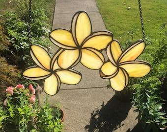 Handmade Plumeria Stained Glass Suncatcher Small