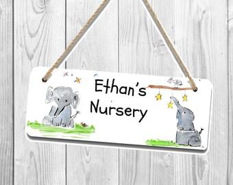 Elephant door plaque, personalised door plaque, childrens name plaque, childrens door plaque, nursery sign, nursery name plaque