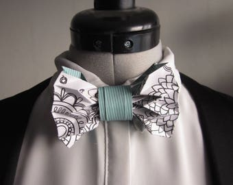 bow tie in origami white and green of water - mixed