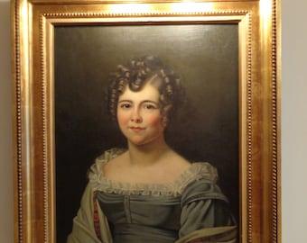 Antique oil painting portrait of a lady woman