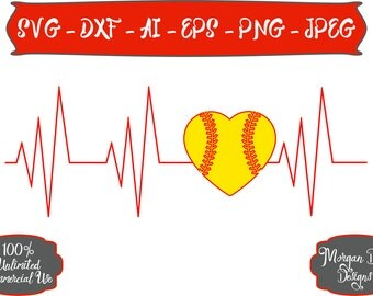 Softball Heartbeat SVG - Softball Mom SVG - Softball SVG - Softball Addict svg - Files for Silhouette Studio/Cricut Design Space