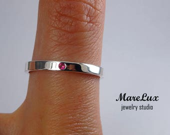 Natural Ruby Sterling Silver Band, Thin Ruby Wedding Ring, Engagement Band, July Precious Gemstone Jewelry 1.5 mm Round Cut Pink Ruby Ring