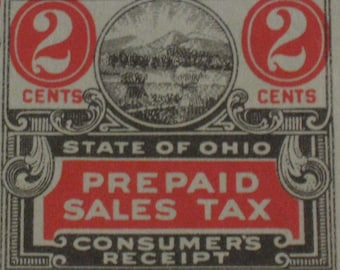 Vintage Ohio State Tax Coupons (2 Cents)