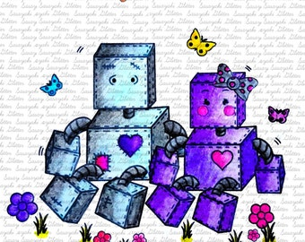 Robot Love Digital Stamp By Sasayaki Glitter