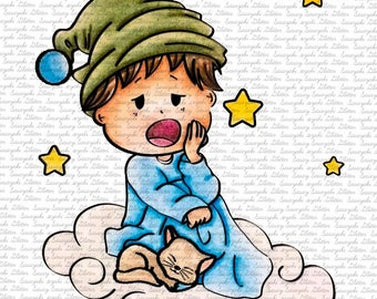 Image #53 - Sleeping On Clouds -  Digital Stamp by Sasayaki Glitter Stamps - Naz - Line art Only - Black and White