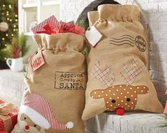 Burlap Santa Sacks, Santa Bags, Christmas Santa Sacks, Reindeer Santa Sack, Christmas in July