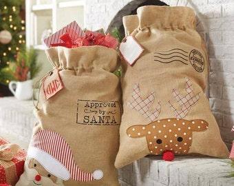 Burlap Santa Sacks, Santa Bags, Christmas Santa Sacks, Reindeer Santa Sack, Personalized Santa Bag, Christmas Eve,