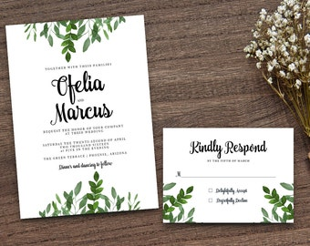 Green Leaf Invite, Leafy Invitation, Handpainted Invite, Wreath Wedding Invite, Wedding Invitation, Calligraphy Invite, DIY Invitation Suite