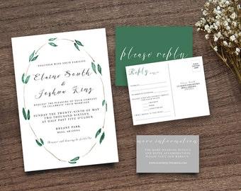 Green Leaves Invite, Green Leaf Invite Leafy Invitation  Wreath Wedding Invite, Wedding Invitation, Calligraphy Invite, DIY Invitation Suite