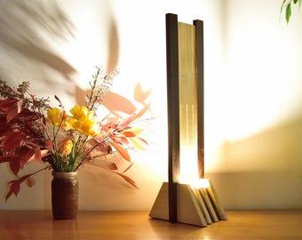 Olied Ipe and Varnished Tulip Tree Wood Lamp