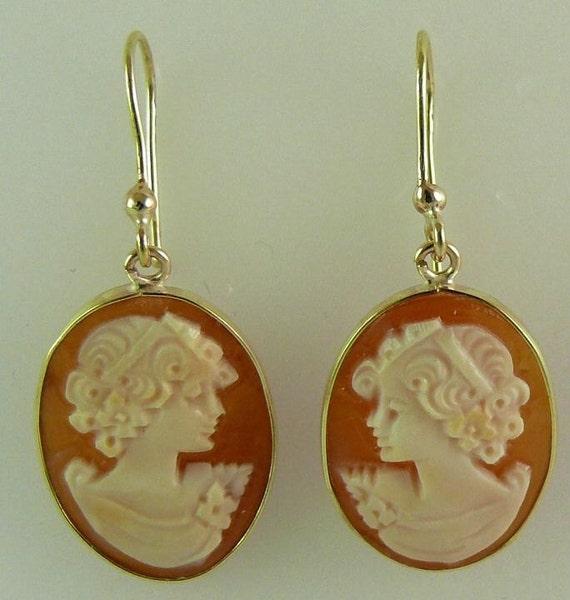 Cameo Earrings 14k Yellow Gold