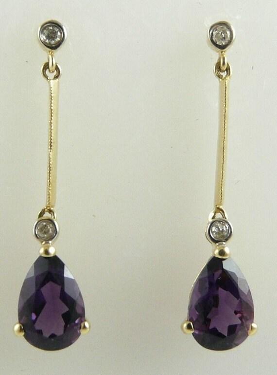 Amethyst 2.76ct Earrings 14k Yellow Gold & Diamonds 0.08ct