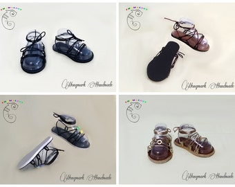 Leather Sandals with interchangeable straps, adjustable straps, Mediterranean style, with accessories, customizable, Made in USA