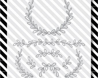 wreath svg cut file - leaf design pack - svg laurel design- dxf file - svg cut file - wreath svg - laurel cut file - dxf laurel -leaf vector