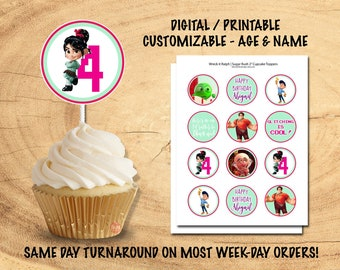 SUGAR RUSH CUPCAKE Toppers | Wreck it Ralph Sugar Rush Birthday Party