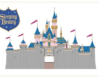 Disneyland - Sleeping Beauty Castle - Front Elevation - Digital Download