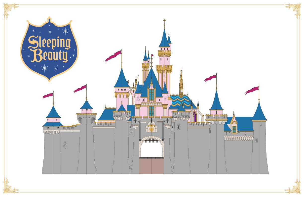 Disneyland Sleeping Beauty Castle Front Elevation