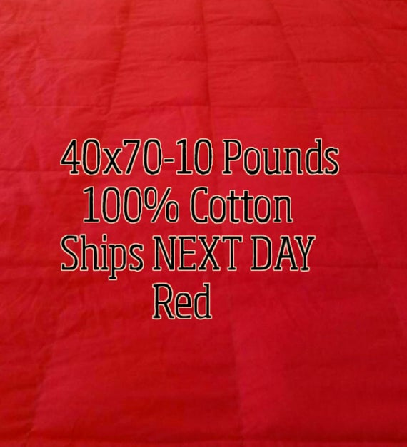 Weighted Blanket, 10 Pound, Red, 40x70, READY TO SHIP, Twin Size, Adult Weighted Blanket, Next Business Day To Ship