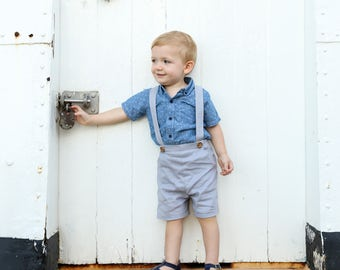 Boys Pants with Suspenders, Shorts with braces, linen baby pants, grey linen pants, page boy attire, formal kids, baby gift, toddler overall
