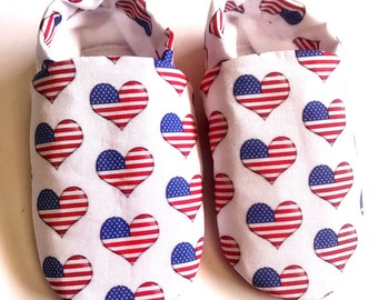 July 4th baby shoes, July 4th heart baby shoes,  Patriotic baby booties, America baby shoes, red white and blue baby shoes, July 4th
