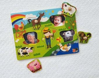 Peek-a-boo puzzle – farmyard eight-piece puzzle