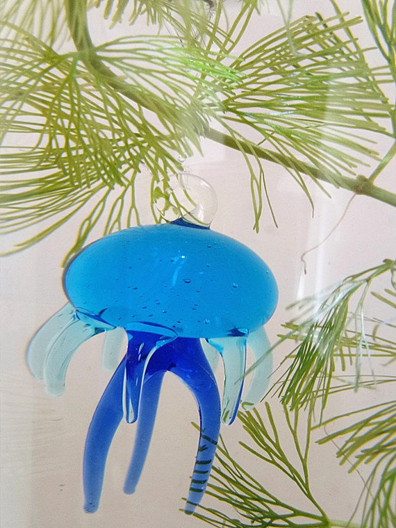 d coration aquarium m duses de verre bleu la main avec une. Black Bedroom Furniture Sets. Home Design Ideas