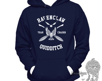 CHASER - Ravenclaw Quidditch team Chaser WHITE print printed on Navy Hoodie