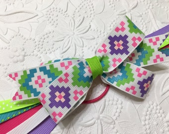 Girls Ponytail Streamers (P-2) Glitter Ribbon Geometric Print top bow with multi-color matching streamers,Ponytail Holder, Pony O