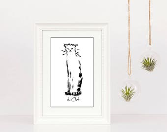 Cat Art Illustration - Matted and Framed - White Beaded Frame - Free Shipping - Black and White Art - In 3 Sizes - Le Chat - Cat Lover Gift