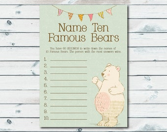 Famous Bears Name Game, Name Ten Famous Bears Game, Baby Shower Games Printable, Teddy Bear Baby Shower