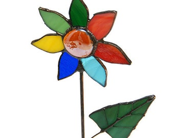 Colorfull Flower, Standing Stained Glass Home Decor, Tiffany Art, Perfect Valentine's Day Gift